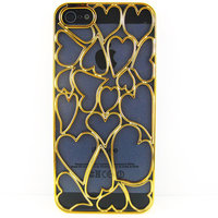Накладка Chrome Gold Heart Case для iPhone 5 / 5s / SE золотое сердце
