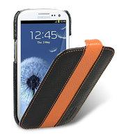 Кожаный чехол книжка Melkco Jacka Type для Samsung Galaxy S4 GT-I9500 - Black/Orange LC черный с оранжевой