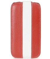 Кожаный чехол книжка Melkco Jacka Type для Samsung Galaxy S4 mini GT-I9190 - Red/White LC красный с белой полосой