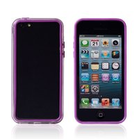 Пластиковый бампер для iPhone 5c фиолетовый с прозрачной вставкой