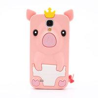 Силиконовый чехол для Samsung Galaxy S4 mini светло-розовый поросенок - Pig Silicone Case Light Pink