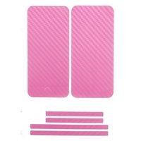 Карбоновая наклейка на iPhone 5 на переднюю, заднюю и боковые части Розовая
