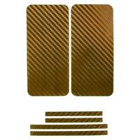 Карбоновая наклейка на iPhone 5 на переднюю, заднюю и боковые части Золотистая