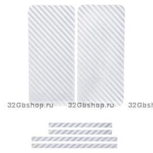 Карбоновая наклейка на iPhone 5 на переднюю, заднюю и боковые части Белая