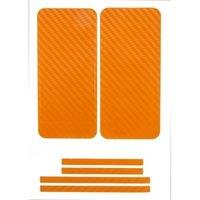 Наклейка карбон для iPhone 5 оранжевая на переднюю,заднюю и боковые части