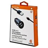 Автомобильная зарядка для iPhone 5 / 5s / 6s / 6 / 5c / SE - Griffin Powerjolt Micro 2 USB with Lightning Connector - 2.1 A