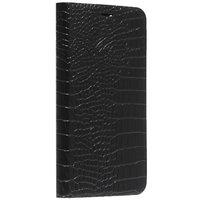 Черный кожаный чехол книга для iPhone 11 фактура кожи крокодила Peacocktion Crocodile Genuine Leather