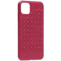 Красный кожаный чехол накладка с плетением для iPhone 11 Pro Max - Santa Barbara Polo&Racquet Club Ravel Series Red