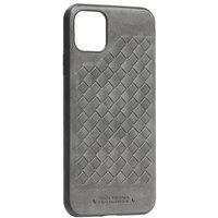 Серый кожаный чехол накладка с плетением для iPhone 11 Pro Max - Santa Barbara Polo&Racquet Club Ravel Series Grey
