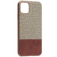 Коричневая кожаная накладка с тканевой вставкой для iPhone 11 Pro Max - Santa Barbara Polo&Racquet Club Virtuoso Series Brown