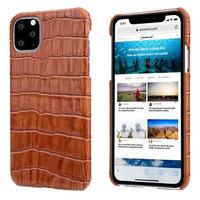 Коричневый чехол из кожи крокодила для iPhone 11 Pro Max брюхо
