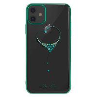 Прозрачный пластиковый чехол со стразами с зеленымый бампером для iPhone 11 - KINGXBAR Swarovski The One Green