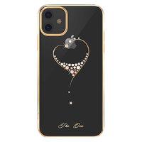 Прозрачный пластиковый чехол со стразами золотой бампер для iPhone 11 - KINGXBAR Swarovski The One Gold