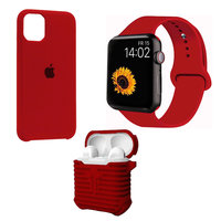 Набор красный силиконовый чехол для iPhone 11 - ремешок для Apple Watch 44/42 - чехол для AirPods