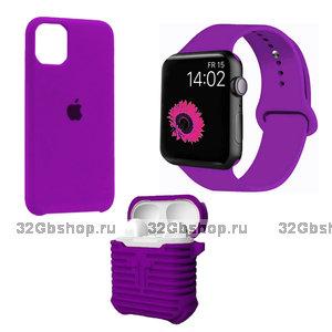 Набор фиолетовый силиконовый чехол для iPhone 11 - ремешок для Apple Watch 44/42 - чехол для AirPods