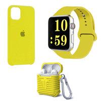 Набор желтый силиконовый чехол для iPhone 11 - ремешок для Apple Watch 44/42 - чехол для AirPods