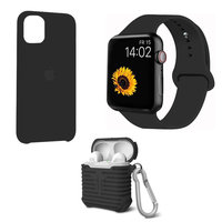 Набор черный силиконовый чехол для iPhone 11 - ремешок для Apple Watch 44/42 - чехол для AirPods