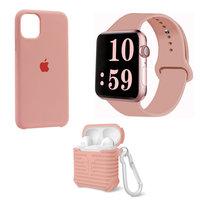 Набор розовый силиконовый чехол для iPhone 11 - ремешок для Apple Watch 44/42 - чехол для AirPods