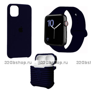 Набор синий силиконовый чехол для iPhone 11 - ремешок для Apple Watch 44/42 - чехол для AirPods