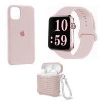 Набор светло-розовый силиконовый чехол для iPhone 11 - ремешок для Apple Watch 44/42 - чехол для AirPods