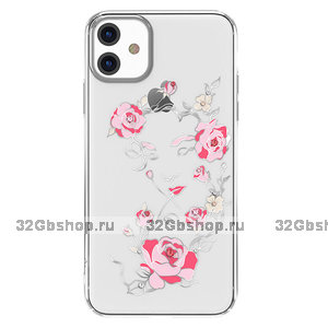 Прозрачный пластиковый чехол со стразами для iPhone 11 серебряный бампер - KINGXBAR Swarovski Flowers Silver