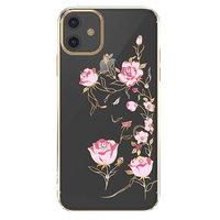 Прозрачный пластиковый чехол со стразами цветы для iPhone 11 золотой бампер - KINGXBAR Swarovski Flowers Gold