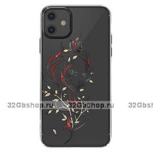 Прозрачный пластиковый чехол со стразами для iPhone 11 черный бампер - KINGXBAR Swarovski Flowers Black