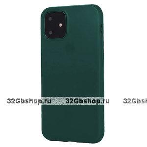 Темно-зеленый глянцевый силиконовый чехол для iPhone 11