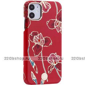 Красный пластиковый чехол со стразами для iPhone 11 красные цветы - KINGXBAR Red Flowers