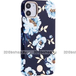 Синий пластиковый чехол со стразами для iPhone 11 гардения - KINGXBAR Gardenia Blue