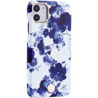 Белый пластиковый чехол со стразами для iPhone 11 орхидея - KINGXBAR Orchid Blue