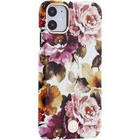 Белый пластиковый чехол со стразами для iPhone 11 пионы - KINGXBAR Pion Pink