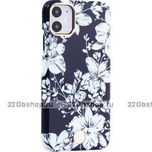 Синий пластиковый чехол со стразами для iPhone 11 лилия - KINGXBAR Lily White