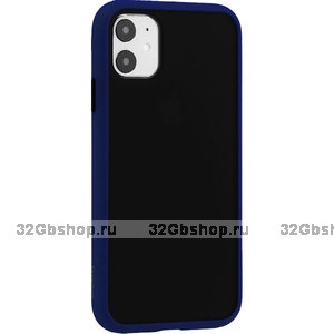 Черный защитный пластиковый чехол KeepHone Armor Series Blue для iPhone 11 с синим силиконовым бампером