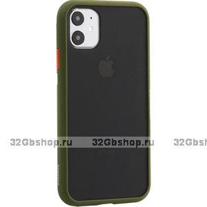 Черный защитный пластиковый чехол KeepHone Armor Series Green для iPhone 11 с зеленым силиконовым бампером