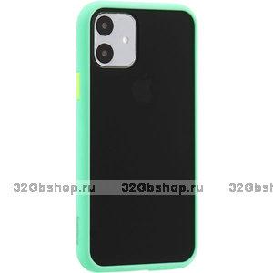 Черный защитный пластиковый чехол KeepHone Armor Series Light Green для iPhone 11 с салатовым силиконовым бампером