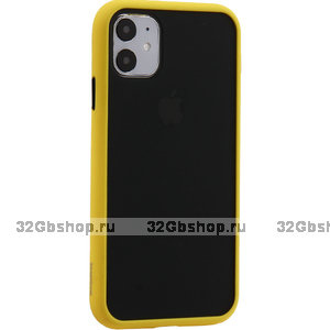 Черный защитный пластиковый чехол KeepHone Armor Series Yellow для iPhone 11 желтый силиконовый бампер