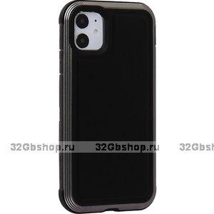 Противоударный пластиковый чехол для iPhone 11 черная кожа - X-DORIA Defense Lux Leather Black