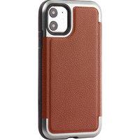 Противоударный пластиковый чехол для iPhone 11 коричневая кожа - X-DORIA Defense Lux Leather Brown