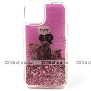 Силиконовый чехол с жидкими блестками для iPhone 11 - Super mama