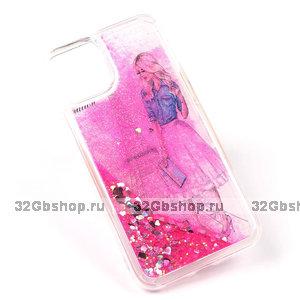 Силиконовый чехол с жидкими блестками для iPhone 11 - девушка в Париже