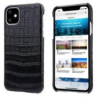 Черный чехол из кожи крокодила для iPhone 11 брюшко