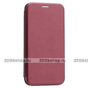 Бордовый кожаный чехол книга для iPhone 11
