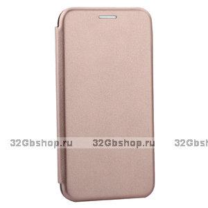 Розовое золото кожаный чехол книга для iPhone 11