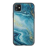 Чехол закаленное стекло Deppa Glass Case для iPhone 11 голубой агат