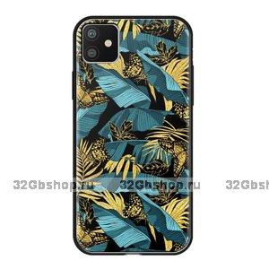 Чехол закаленное стекло Deppa Glass Case для iPhone 11 джунгли