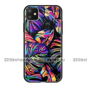 Чехол закаленное стекло Deppa Glass Case для iPhone 11 листья