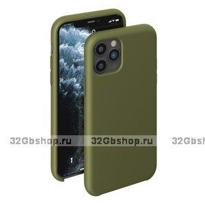 Оливковый силиконовый чехол для для iPhone 11 - Deppa Liquid Silicone Case Olive 1.5mm