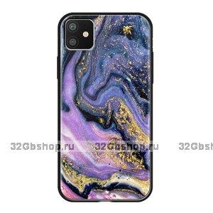 Чехол закаленное стекло Deppa Glass Case для iPhone 11 фиолетовый агат