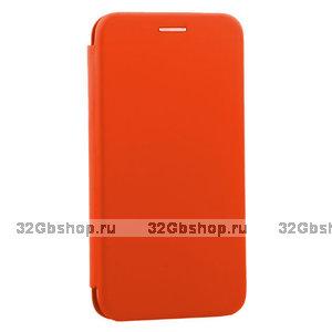 Оранжевый кожаный чехол книга для iPhone 11